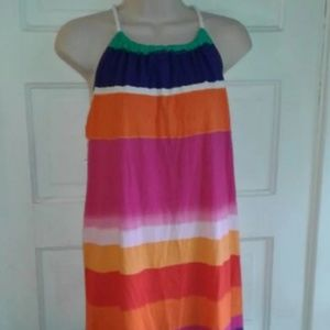 Chaps multi color summer hi back, lo front dress